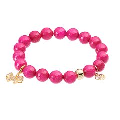 TFS Jewelry 14k Gold Over Silver Fuchsia Quartz Bead & Cubic Zirconia Bow Charm Stretch Bracelet