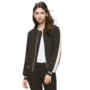 Juniors' Jolie Vie Striped Bomber Jacket