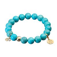 TFS Jewelry 14k Gold Over Silver Teal Magnesite Bead & Om Charm Stretch Bracelet
