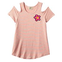 Girls 7-16 Eyelash Cold-Shoulder Tie Front Graphic Tee