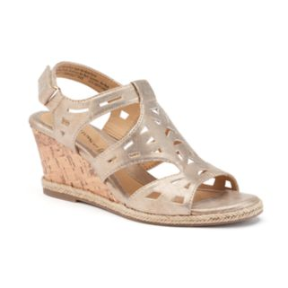 Croft & Barrow® Women's Ortholite Cork-Patterned Wedge Sandals