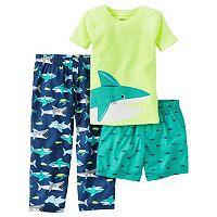 Baby Boy Carter's Shark Tee, Print Shorts & Pants Pajama Set