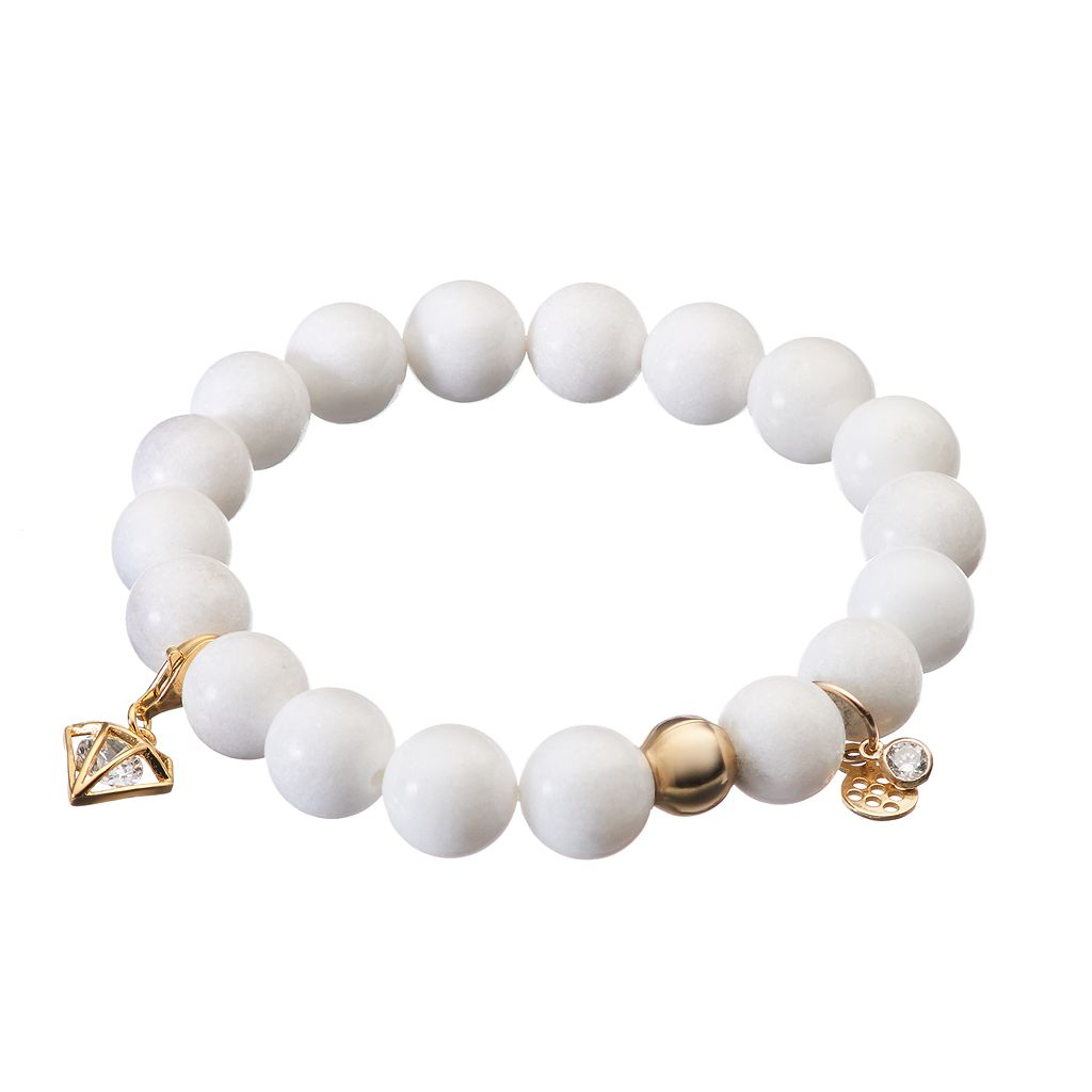 TFS Jewelry 14k Gold Over Silver White Jade Bead & Cubic Zirconia Charm Stretch Bracelet