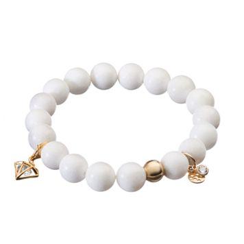 TFS Jewelry 14k Gold Over Silver White Jade Bead & Cubic Zirconia Charm Stretch Bracelet