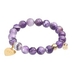 TFS Jewelry 14k Gold Over Silver Amethyst Bead & Heart Charm Stretch Bracelet