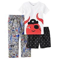 Toddler Boy Carter's Shark Tee, Print Shorts & Pants Pajama Set