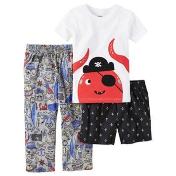 Toddler Boy Carter's Shark Tee, Print Shorts & Pants Pajama Set