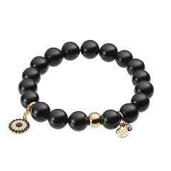 TFS Jewelry 14k Gold Over Silver Onyx Bead & Cubic Zirconia Circle Charm Stretch Bracelet