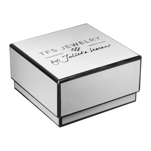 TFS Jewelry 14k Gold Over Silver Onyx Bead & Cubic Zirconia Circle Charm Stretch Bracelet