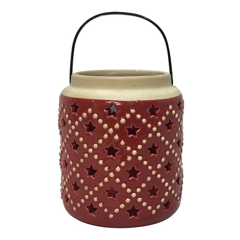 Celebrate Americana Together Red Star Ceramic Lantern