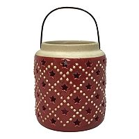 Celebrate Americana Together Red Star Ceramic Lantern