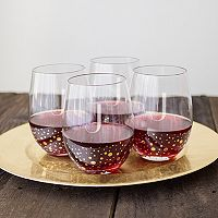 Cathy's Concepts 4 pc Monogram Gold-Dotted Stemless Wine Glass Set