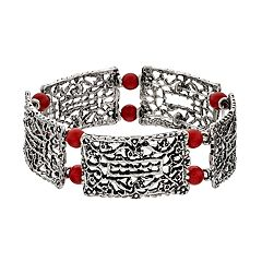 Red Beaded Openwork Stretch Bracelet