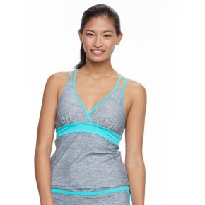 Women's Free Country Printed Strappy-Back Tankini Top