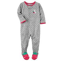 Baby Girl Carter's Polka-Dot Strawberry Footed Pajamas