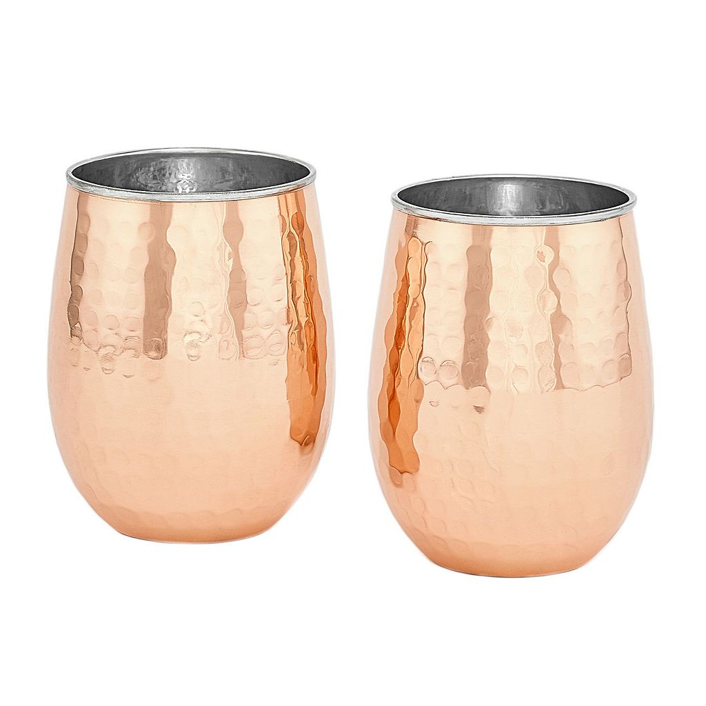 Old Dutch 2-pc. Hammered Copper Stemless Wine Glass Set
