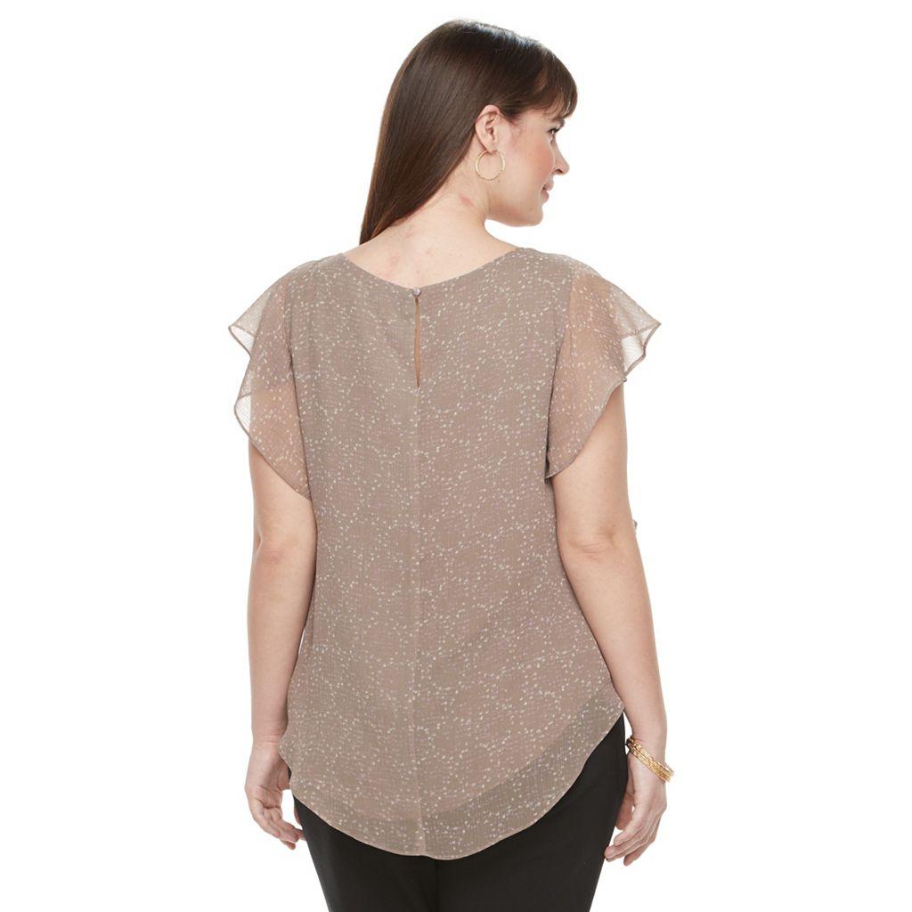 Plus Size Apt. 9® Ruffle Chiffon Top