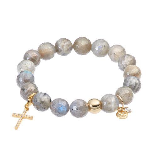 TFS Jewelry 14k Gold Over Silver Gray Labradorite & Cubic Zirconia Cross Charm Stretch Bracelet