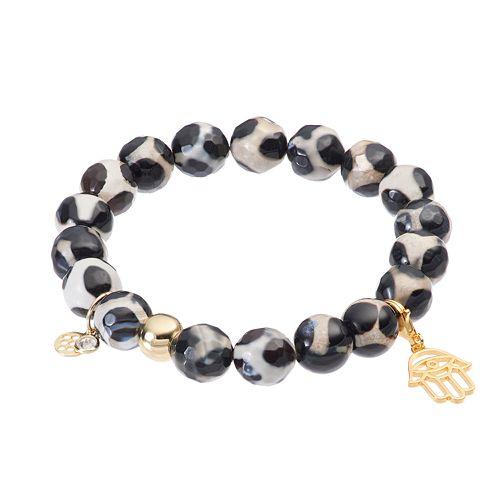 TFS Jewelry 14k Gold Over Silver Black Agate Bead & Hamsa Charm Stretch Bracelet