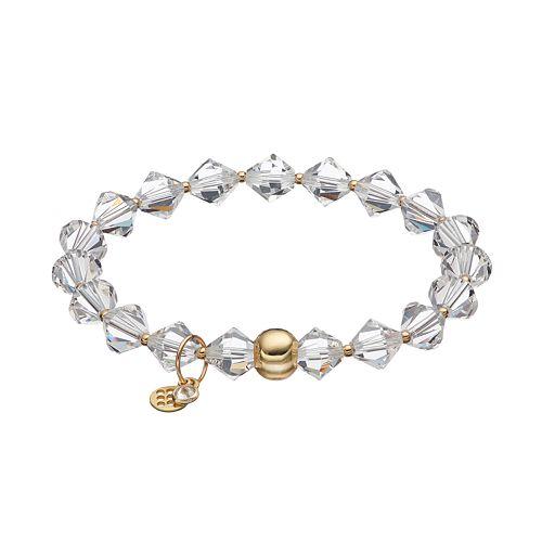 TFS Jewelry 14k Gold Over Silver White Crystal Bead Stretch Bracelet