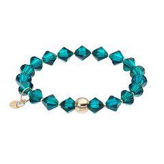 TFS Jewelry 14k Gold Over Silver Green Crystal Bead Stretch Bracelet