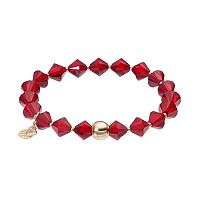 TFS Jewelry 14k Gold Over Silver Red Crystal Bead Stretch Bracelet