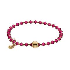 TFS Jewelry 14k Gold Over Silver Fuchsia Crystal Bead Stretch Bracelet