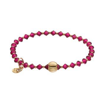 TFS Jewelry 14k Gold Over Silver Fuchsia Crystal Bead Stretch Bracelet
