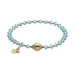 TFS Jewelry 14k Gold Over Silver Light Blue Crystal Bead Stretch Bracelet
