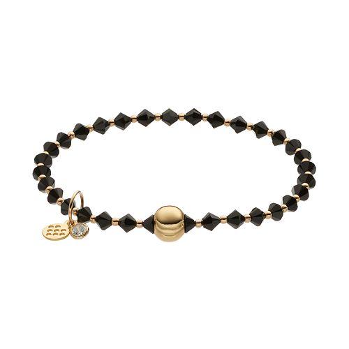 TFS Jewelry 14k Gold Over Silver Black Crystal Bead Stretch Bracelet