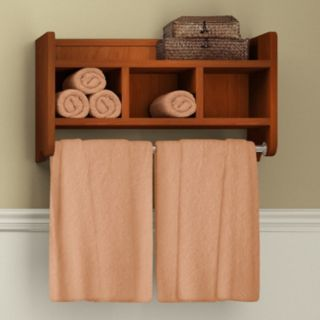 Bolton Bathroom Storage Cubby & Towel Bar Wall Shelf