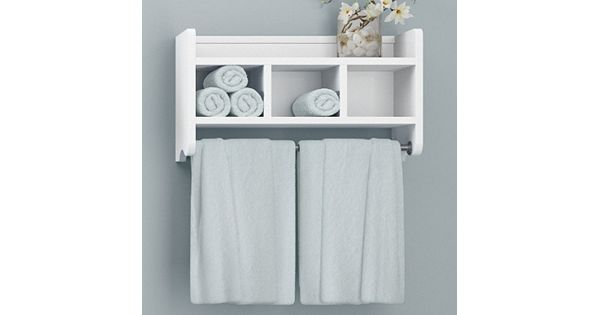 Bolton Bathroom Storage Cubby Towel Bar Wall Shelf