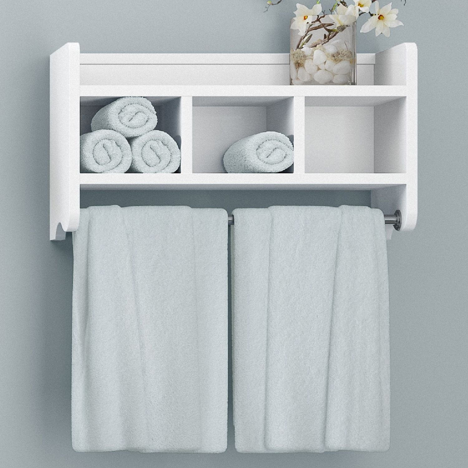 Bolton Bathroom Storage Cubby U0026 Towel Bar Wall Shelf