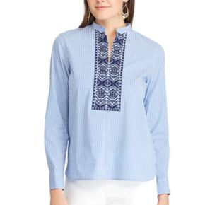 Petite Chaps Striped Embroidered Shirt