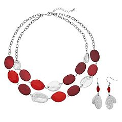 Red Hammered Double Strand Necklace & Drop Earring Set