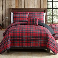 VCNY Tartan Plaid Quilt Set