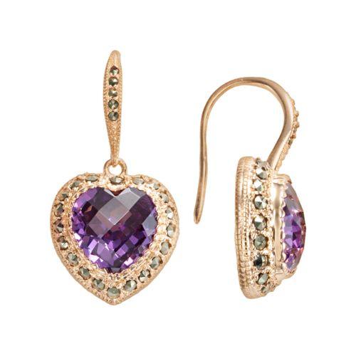 Lavish by TJM 18k Rose Gold Over Silver Cubic Zirconia Heart Drop Earrings