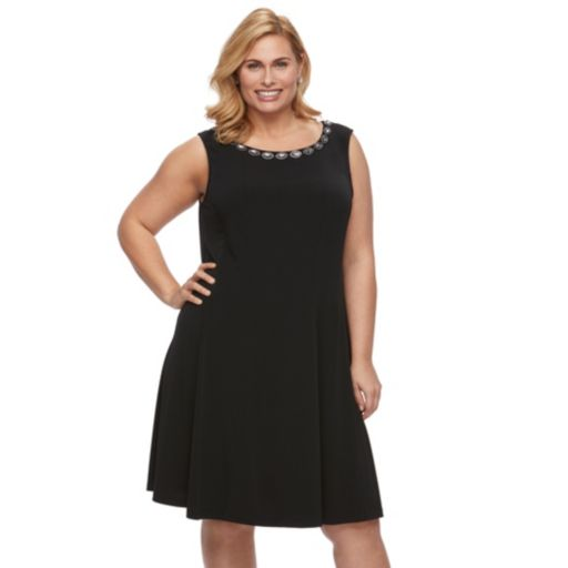 Plus Size Connected Apparel Beaded A-Line Dress