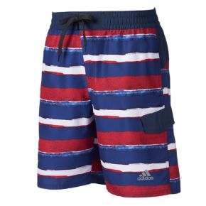 Men's adidas Americana Striped Microfiber Volley Swim Trunks