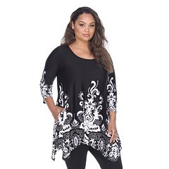 82381cfea7160 Plus Size White Mark Scroll Shark-Bite Tunic