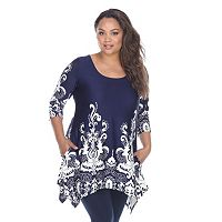 Plus Size White Mark Scroll Shark-Bite Tunic