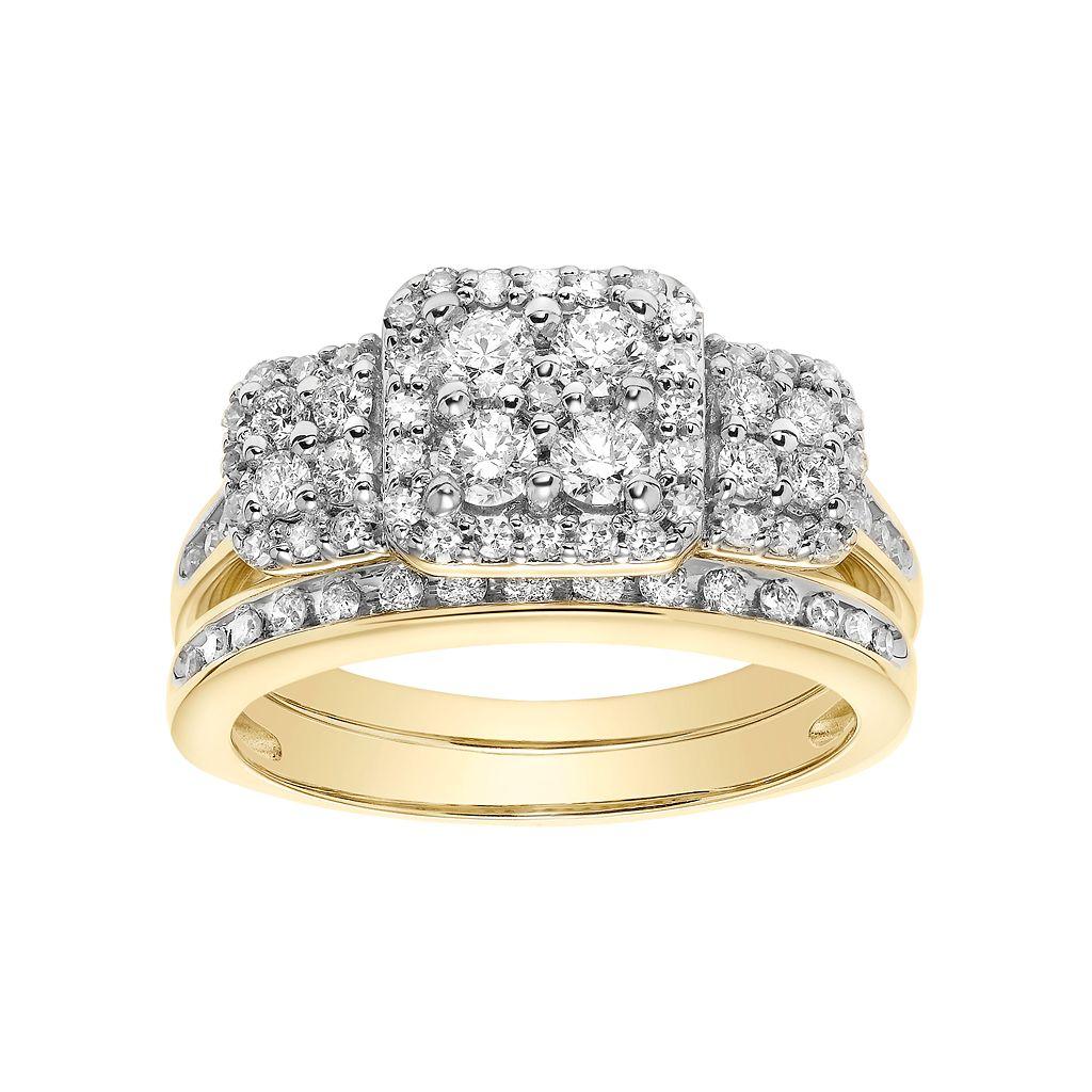 Cherish Always 10k Gold 7/8 Carat T.W. Square Cluster Engagement Ring Set