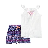 Baby Girl Carter's Necklace Graphic Tank Top & Geometric Shorts Set