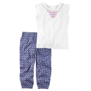 Baby Girl Carter's Necklace Graphic Tee & Floral Pants Set