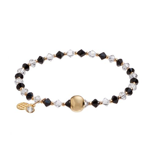 TFS Jewelry 14k Gold Over Silver Black & White Crystal Bead Stretch Bracelet