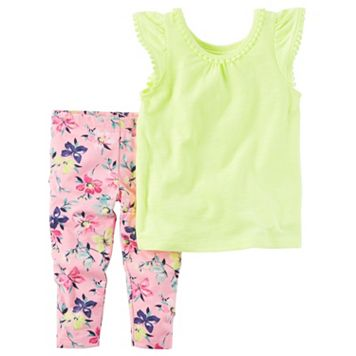 Baby Girl Carter's Pom-Trim Top & Floral Leggings Set