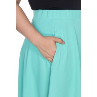 Plus Size White Mark Pleated Midi Skirt