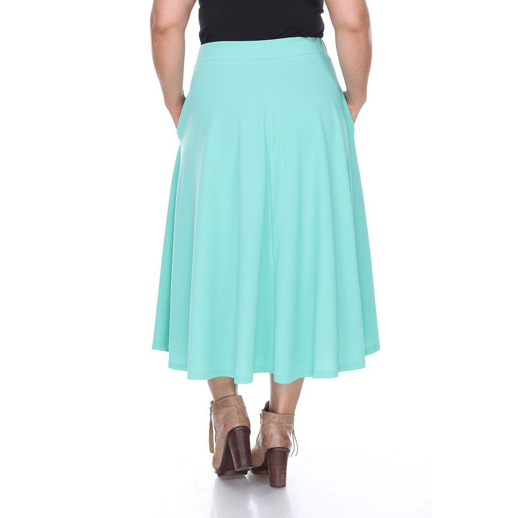 Plus Size White Mark Pleated Midi Skirt
