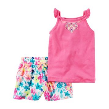 Baby Girl Carter's Necklace Graphic Tank Top & Floral Shorts Set