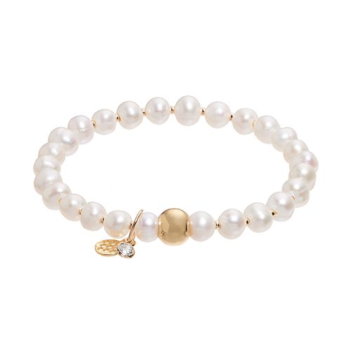 TFS Jewelry 14k Gold Over Silver Freshwater Cultured Pearl Stretch Bracelet
